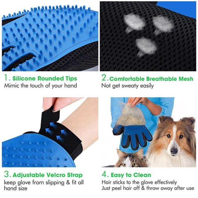 Silicone Pet Brush Bath Gloves Cat Hair Right Hand Grooming