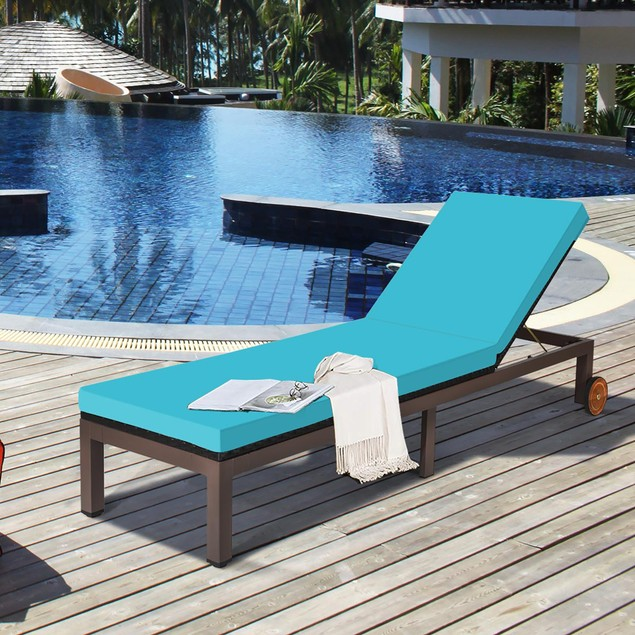 Patio Rattan Lounge Chair Chaise Recliner Back Adjustable W/Wheels Cushione