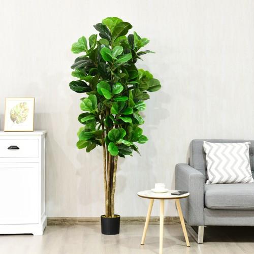6ft Artificial Natural Fig Tree Bush Indoor/Outdoor decorative Planter