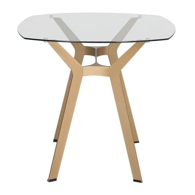 "Studio Design Archtech Modern Glass 48"" Desk/Dining Table-Gold/Clear Glass"