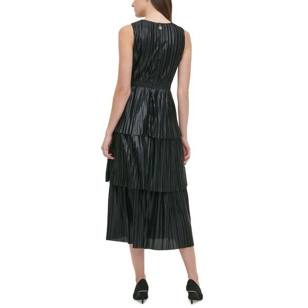 Tommy Hilifger Women's Metallic Pleated Tiered Dress Black Size 6