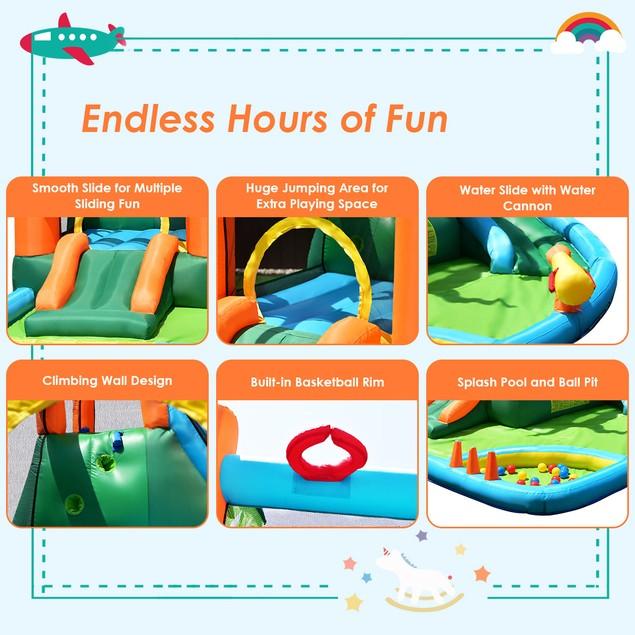 Costway Inflatable Bounce House Kids Water Splash Pool Dual Slide Jumping C