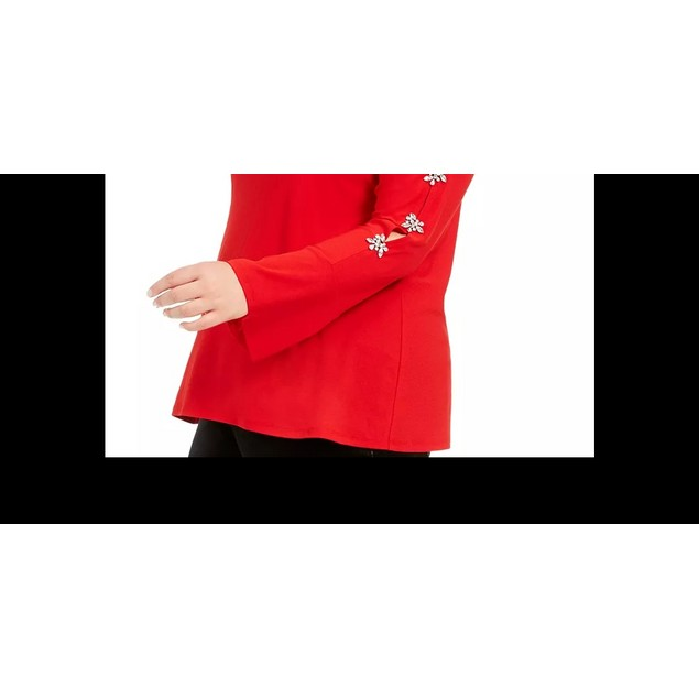 INC International Concepts Women's Plus Size Sleeve Top Dark Red Size 4X