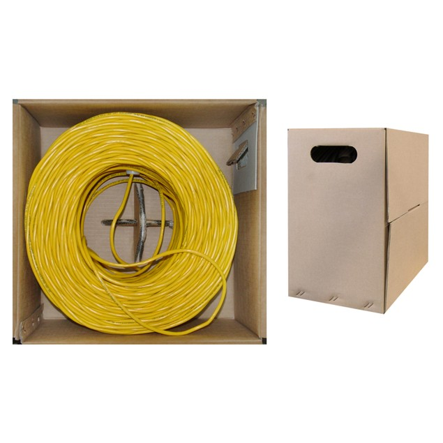 Bulk Cat6 Yellow Ethernet Cable, Solid, UTP  Pullbox, 1000 foot
