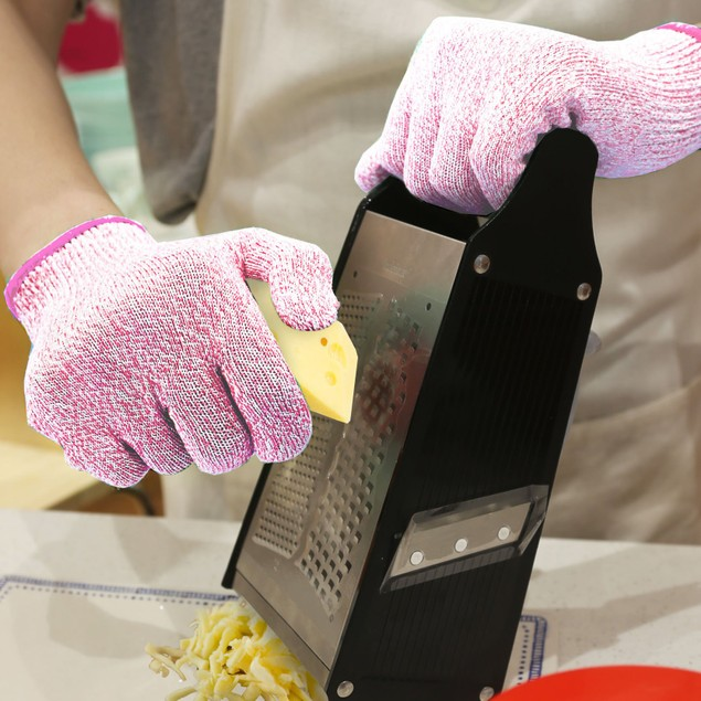 Cut Resistant Pink Gloves for cutting Chopping Fish Fillet and Yard-Work