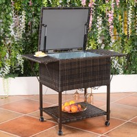 Costway Portable Rattan Cooler Cart Trolley Outdoor Patio Pool Party Ice Dr