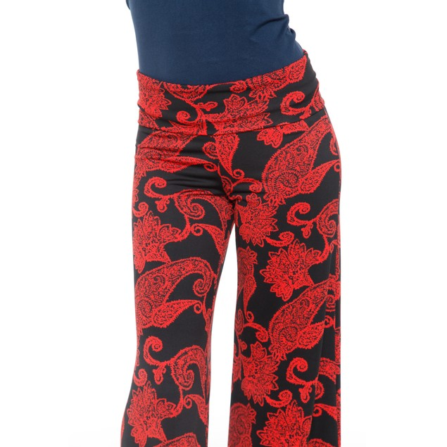 Red Paisley Printed Palazzo Pants