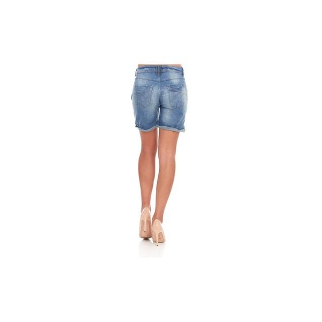 Women's Casual Stretchy Mid-Waist Blue Denim Bermuda Jean Shorts