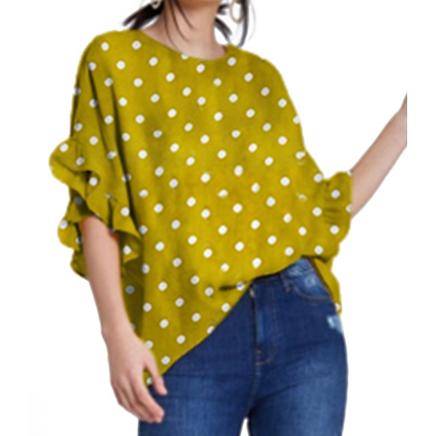 Polka Dot Dolman Drop Shoulder Blouse