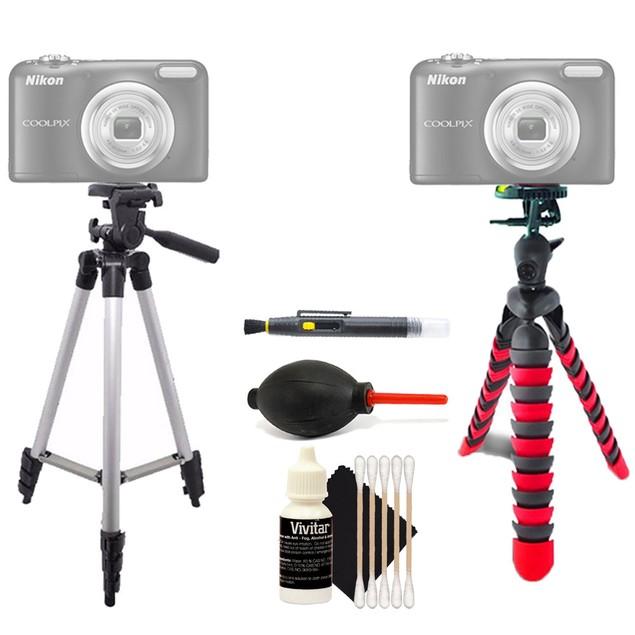 Tall Tripod + Flexible Tripod + Lens Cleaner + Dust Blower + 3pc Cleaning Kit