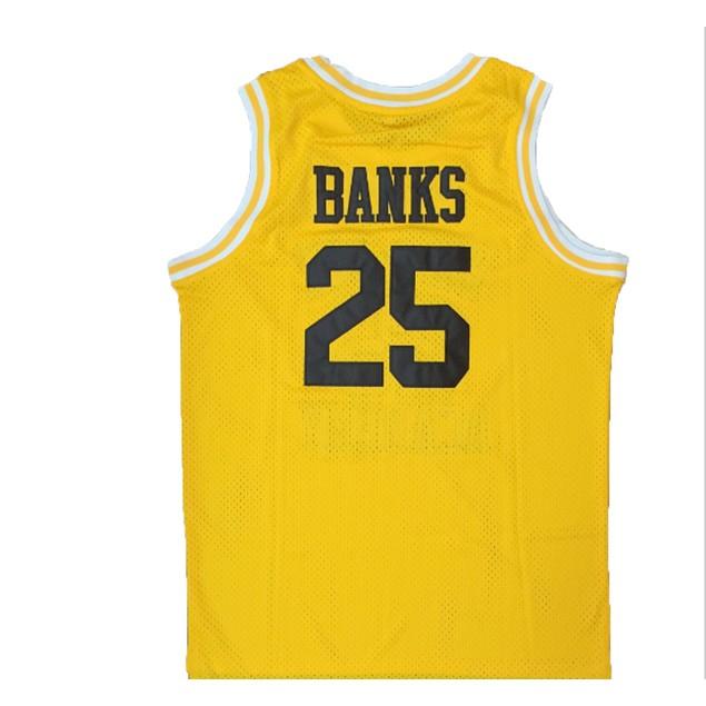 Carlton Banks #25 Bel Air Yellow Basketball Jersey
