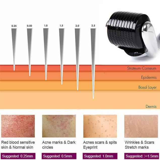 540 Titanium Micro Needles Roller For Facial Hair 0.25mm / 0.5mm / 1.0mm