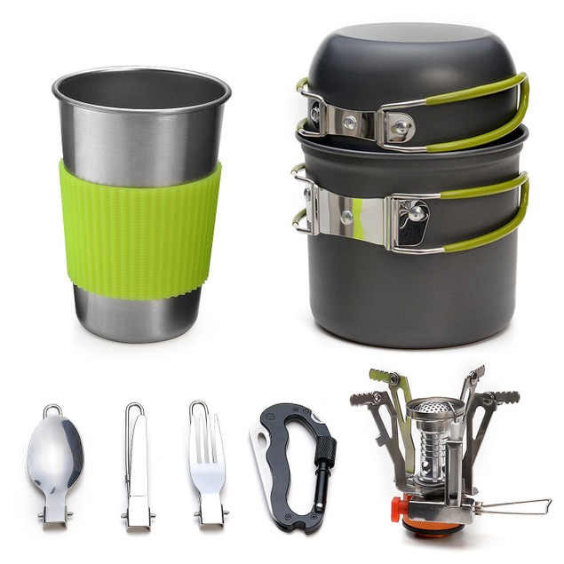ODOLAND CAMPING COOKWARE KIT LIGHTWEIGHT OUTDOOR CAMPING HIKING AND PICNIC