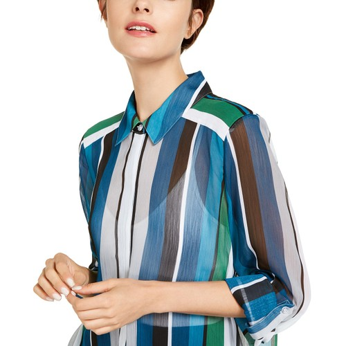 INC International Concepts Wo Vertical-Stripe Button-Up Shirt 2 Extra Large