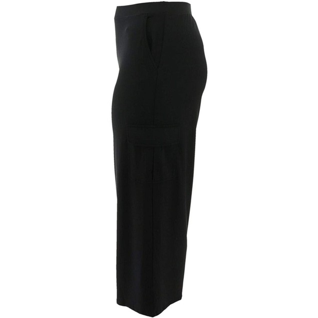 Lisa Rinna Collection Pull-On Wide-Leg Cargo Pants, Petite Medium, Black