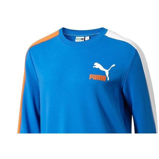 Puma Men's Classics Logo T7 Sweatshirt Navy Size Medium