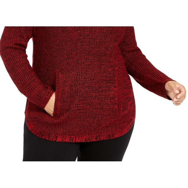 Style & Co Women's Plus Size Button-Trim Sweater Red Size XX-Large