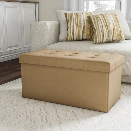 Folding Storage Bench Ottoman 30 in. Tufted Foam Padded Lid