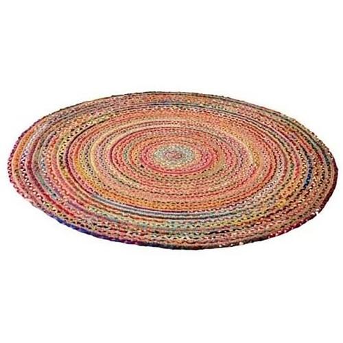 Spura Home Handmade Multi color Vibrant Circular Chindi Round Area Rug
