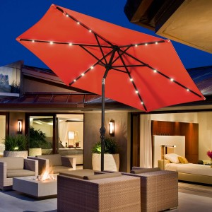Costway 9FT Patio Solar Umbrella LED  Steel Tilt W/ Crank Blue\Orange