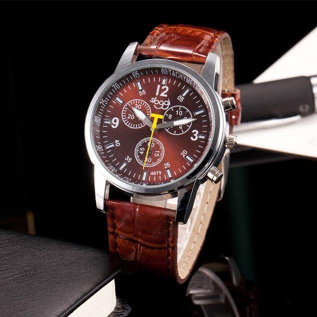 Luxury Fashion Crocodile Faux Leather Mens Analog Watch Wrist Watches