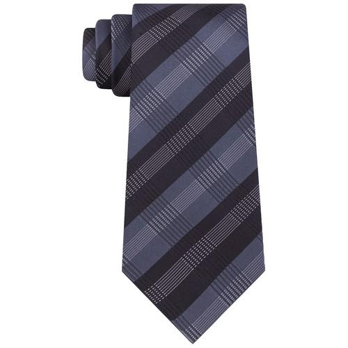 Kenneth Cole Reaction Men's Slim Plaid Tie Grey Size Regular