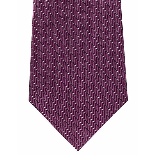 Michael Kors Men's Classic Dash Stripe Satin Tie Pink Purple Size Regular