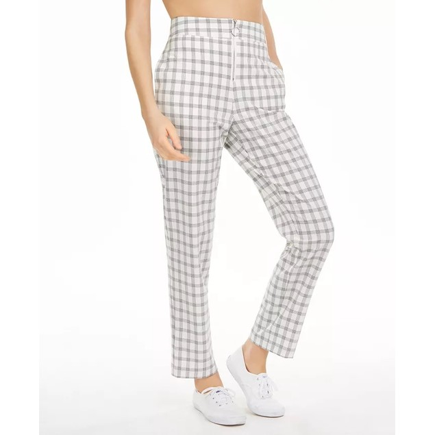 Danielle Bernstein Women's Zip-Up Plaid Pants Natural Size 8