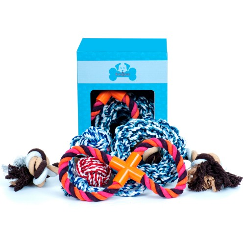 4-Pack or 5-Pack Bagoo Dog Rope Toys for Small, Medium, and Large Dogs