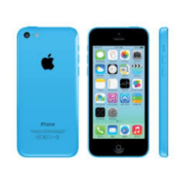 Apple iPhone 5c, AT&T, Grade B+, Screen Shadow, Blue, 16 GB, 4 in Screen