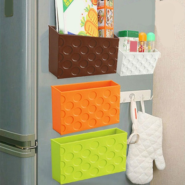 Fridge Magnet Storage Organizer Rack Shelf Box Magnetic Tableware