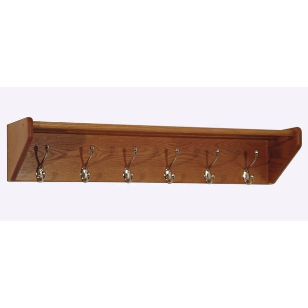 Wooden Mallet 6 Hook Shelf 36Hcrnmo