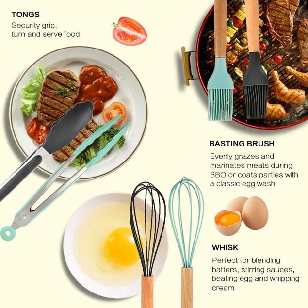 11Pcs Silicone Utensils with Heat Resistant Handles Kitchen Set