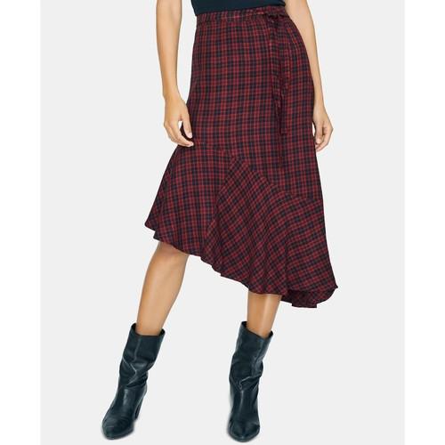 Sanctuary Women's She's The One Plaid Asymmetric Skirt Black Size 12