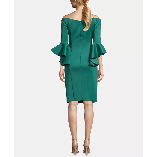 Betsy & Adam Women's Off-The-Shoulder Bell-Sleeve Sheath Dress Green Size 4