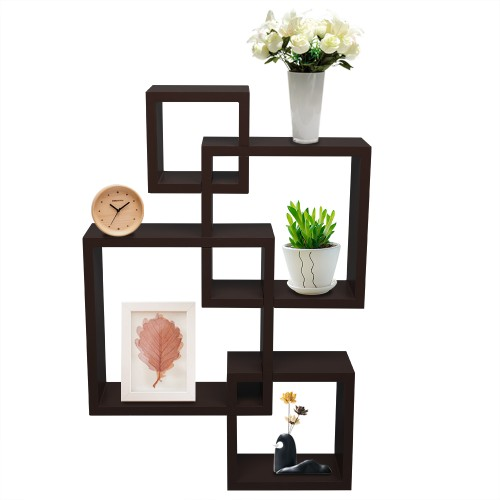 Set of 4 Intersecting Decorative Color Wall Shelf Brown