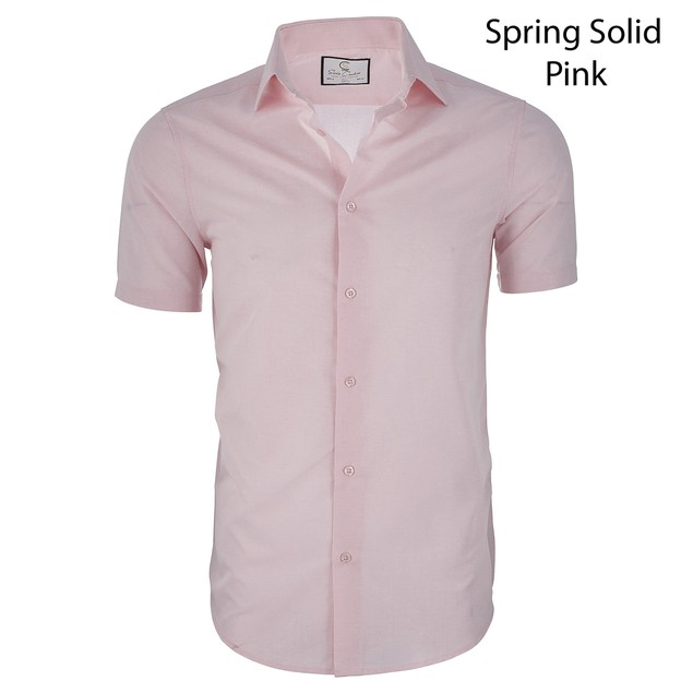 Suslo Couture Men's Slim Fit Casual Short Sleeve Button down Shirt