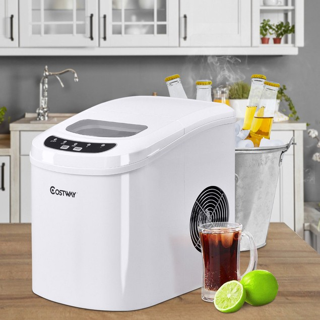 Costway White Portable Compact Electric Ice Maker Machine Mini Cube 26lb/Da