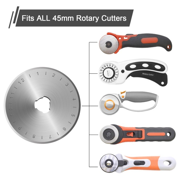 45MM ROTARY CUTTER BLADES SET (12 PIECES) QUILTING SEWING ARTS CRAFTS