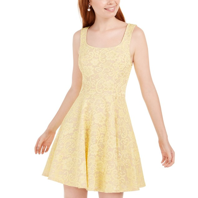 Speechless Juniors' Lace Fit & Flare Dress Yellow Size 7