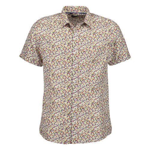 Rosso Milano Modern Fit Short Sleeve Red Paisley Floral Dress Shirt