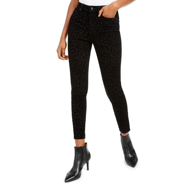 Rewash Juniors' Velvet Leopard Jeans Black Size 7