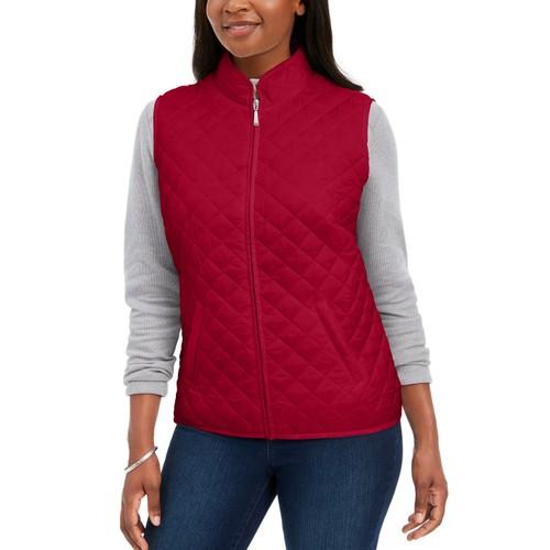 Karen Scott Women's Sport Quilted Puffer Vest  Bright Red Size Medium