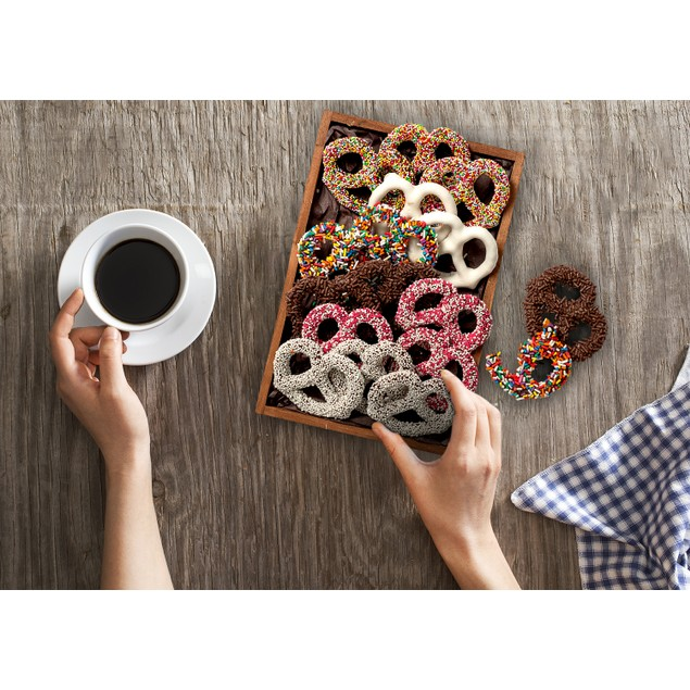 Yummy Tray of 16 Hand Dipped Fresh Dark Chocolate Covered Pretzels