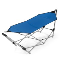 Costway Portable Folding Hammock Lounge Camping Bed Steel Frame Stand W/Car