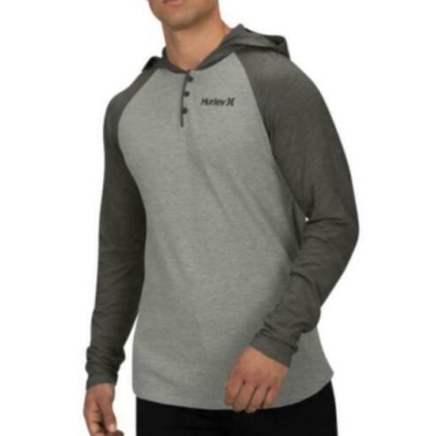 Hurley Men's Colorblocked Thermal Hoodie Gray Size Medium