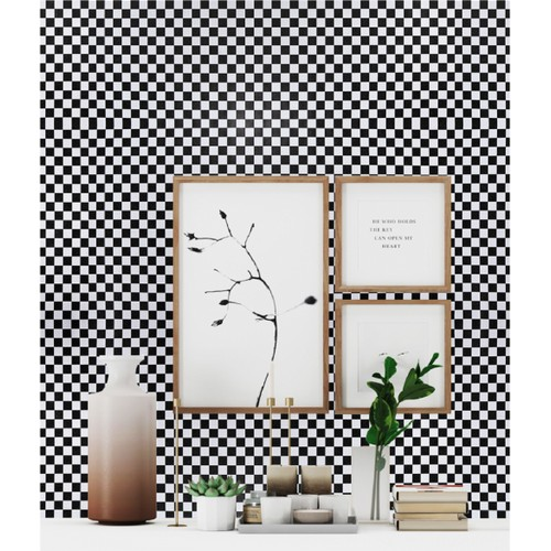 Peel and Stick Wallpaper, 17.7in x 32.8ft, Black and White Checkerboard