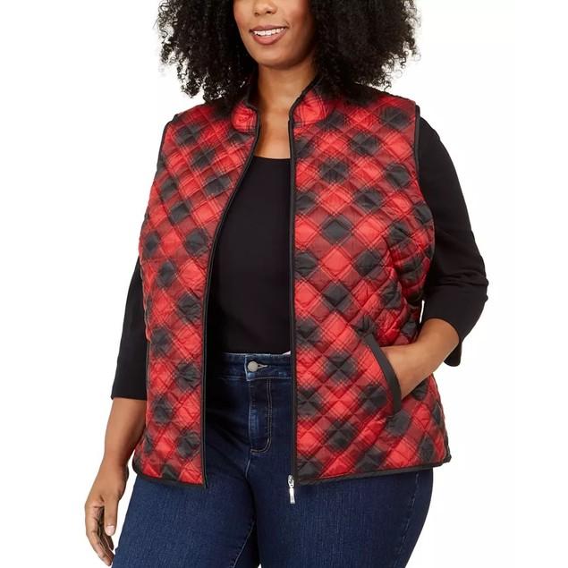 Karen Scott Women's Cozy Plaid Puffer Vest Bright Red Size 2X