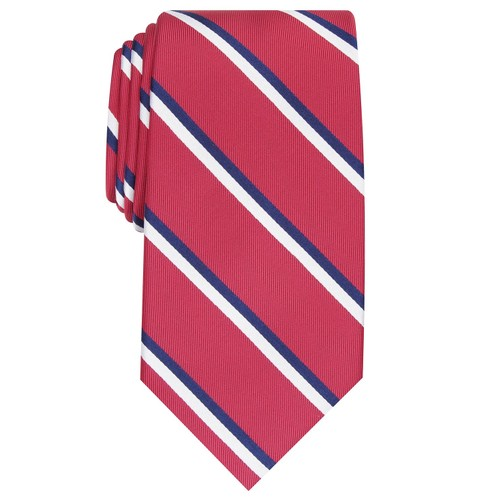 Club Room Men's Classic Stripe Tie Red Size Regular