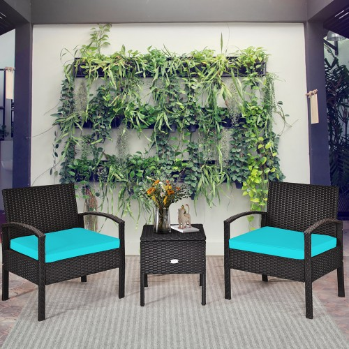 Costway 3PCS Rattan Cushioned Patio Set W/ Storage Table